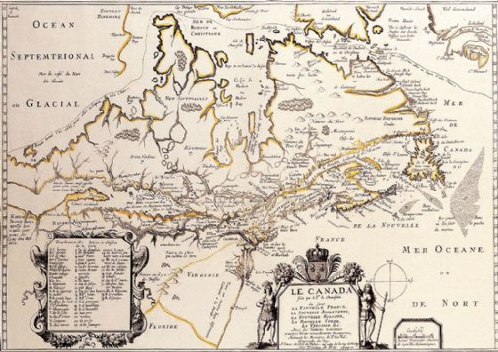 De Champlain, Samuel: Map of Canada. Antique/Vintage 17th Century Map. Fine Art Print/Poster. Sizes: A4/A3/A2/A1 (003899)